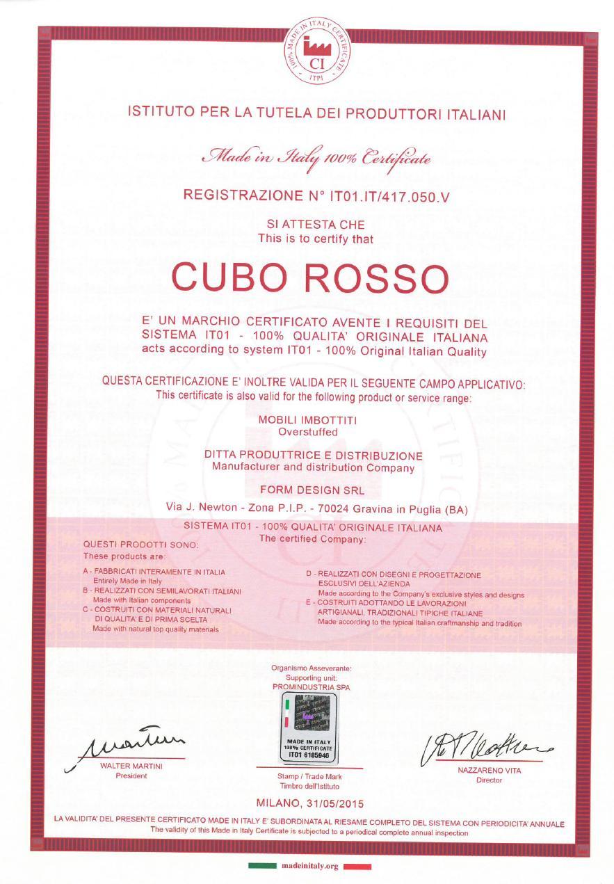 certificazione made in italy 100 cuborosso 2016